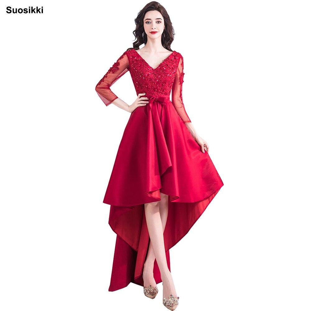 Suosikki 2018 nouveauté robe de bal formelle vestidos de fiesta haute basse longue soirée robes de bal haut bas robes formelles