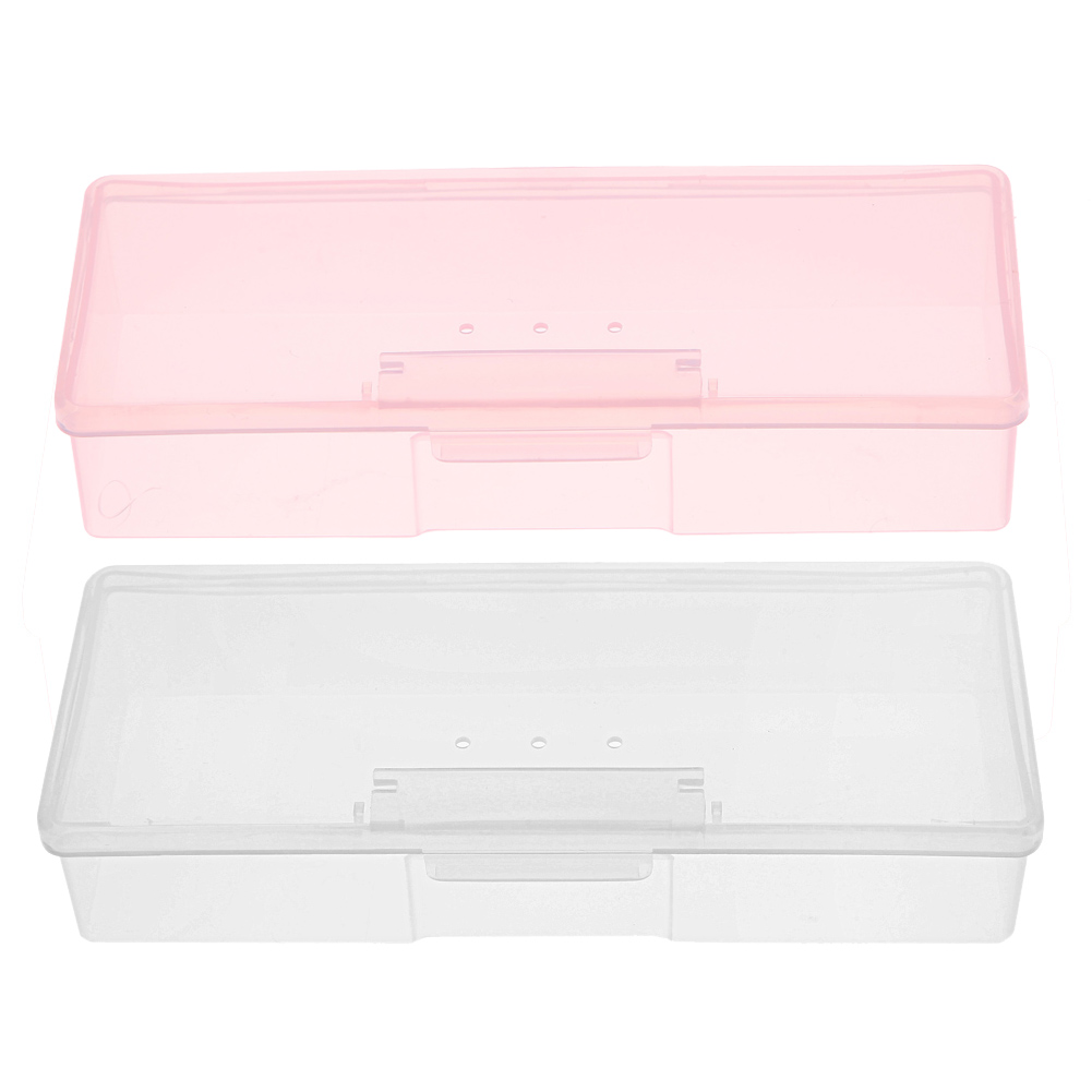 1PC Plastic Nail Tools Storage Box Nail Rhinestone Studs Decorations Brushes Buffer Files Grinding Container Holder Caseportable