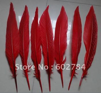 100PCS 12-14 inches 25-30cm RED color carnival decoration Silver pheasant feather silver feather Free Shipping