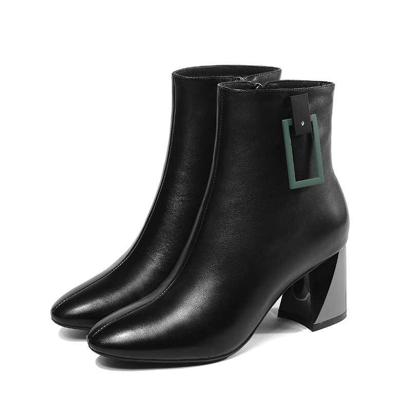 WETKISS Kalın Yüksek Topuklar Kadın yarım çizmeler Zip Kare Ayak Ayakkabı Ofis Bayan Çizme Inek deri ayakkabı Kadın 2019 Bahar Yeni