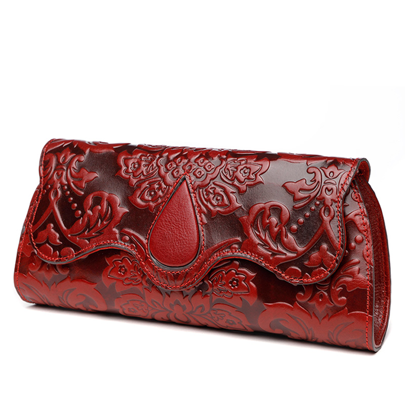 Chinese Vintage Embossing Genuine Leather Hand Clutch Bag Celebrity Clutches Women's Shoulder Purse Wallet Card Holder handbag vintage serpentine genuine leather woman clutches evening bag crossbody chain shoulder bag handbag clutch wallet lady long purse