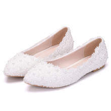 Flats White Pink Lace Wedding Shoes Casual Shoes Pointed Toe Flats Women Wedding Princess Flat Plus Size 34-43 XY-A0148 white lace flower flat heel wedding flats shoes woman bride bridal handmade plus size 41 42 43 beading pearls party shoe hs312