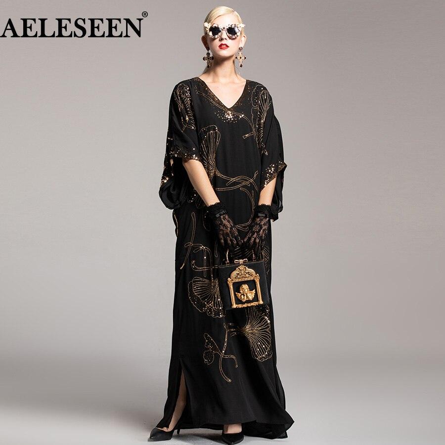AELESEEN Nouveauté Piste Robe Femmes 2018 Automne De Mode Chauve-Souris Manches Col En V À Paillettes Lotus Divisé Lâche Longue Robe Vintage