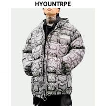 Mode Serpent Imprimé Veste Mens Lâche Chaud Épais À Capuchon Manteau Hip  Hop Nouvelle Streetwear 2018 431edc7857b