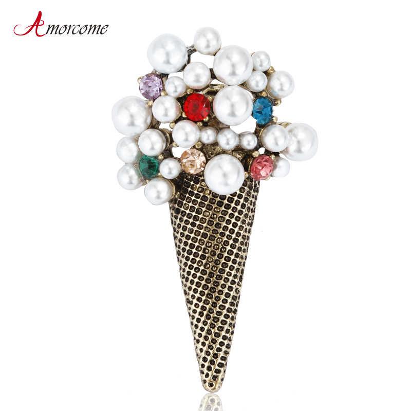 Amorcome Ice Cream Spille Per Le Donne 2019 di Cerimonia Nuziale Del Partito Dei Monili del Metallo di Modo di Cristallo Simulato Della Perla Del Collare Spilla Spille Femminile