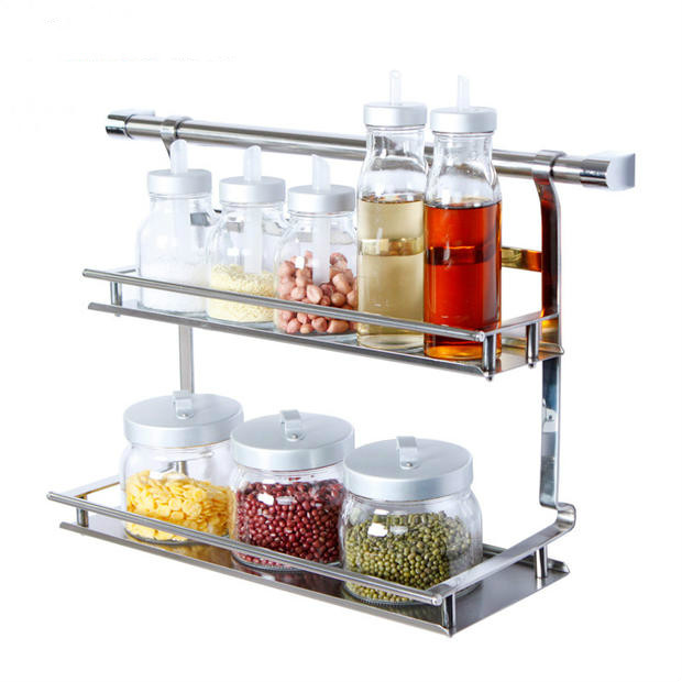 Kitchen rack wall hanging 304 stainless steel pendant seasoning storage rack pendant wall rack hanger Lu 41816 wall mounted paper towel holder with shelf
