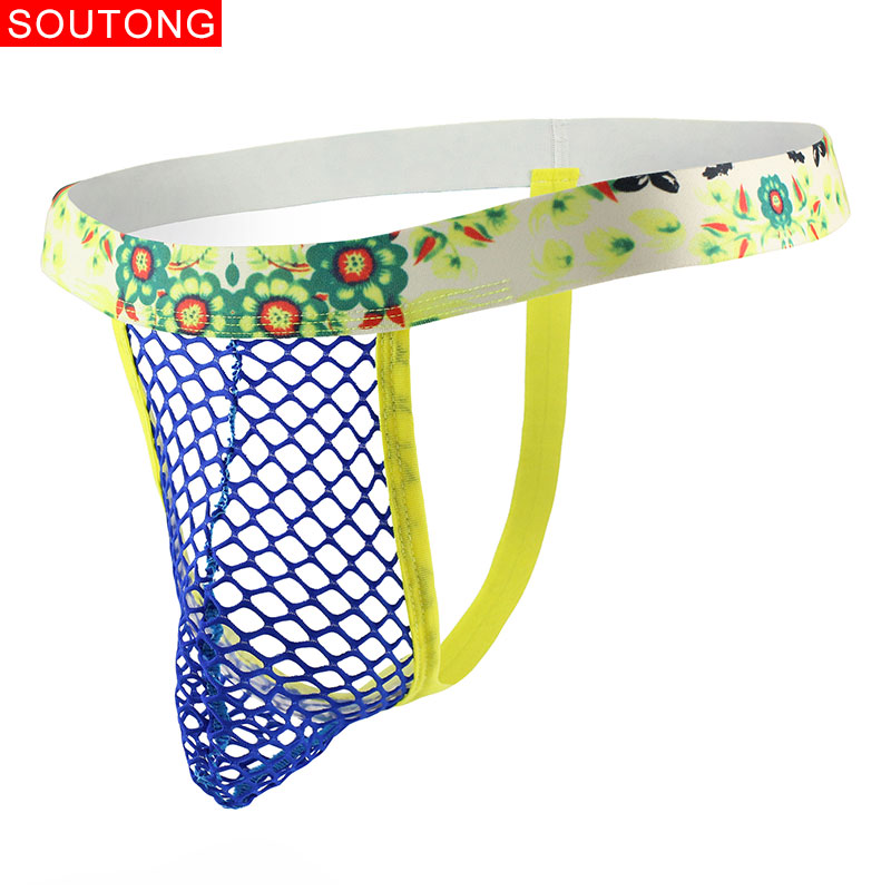 Soutong Mens Thongs And G Strings Low Rise Solid Color Mesh Men's Sexy Transparentes Breathable Underwear Gay
