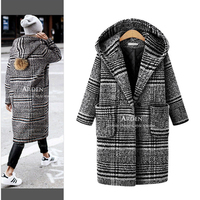 Plus Size Women S 2017 Autumn Winter New European American Style Loose Thick Long Hooded Plaid