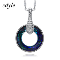 Cdyle Crystals from Swarovski Necklace Women Pendants S925 Sterling Silver Jewelry Elegant Fashion Austrian Rhinestone Paved New