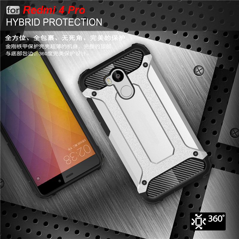 Strong Hybrid Tough Shockproof Armor Back <font><b>Case</b></font> Cover for Xiaomi Redmi 4 Pro 4 Prime TPU Stand Hard Rugged Impact Coque Fundas