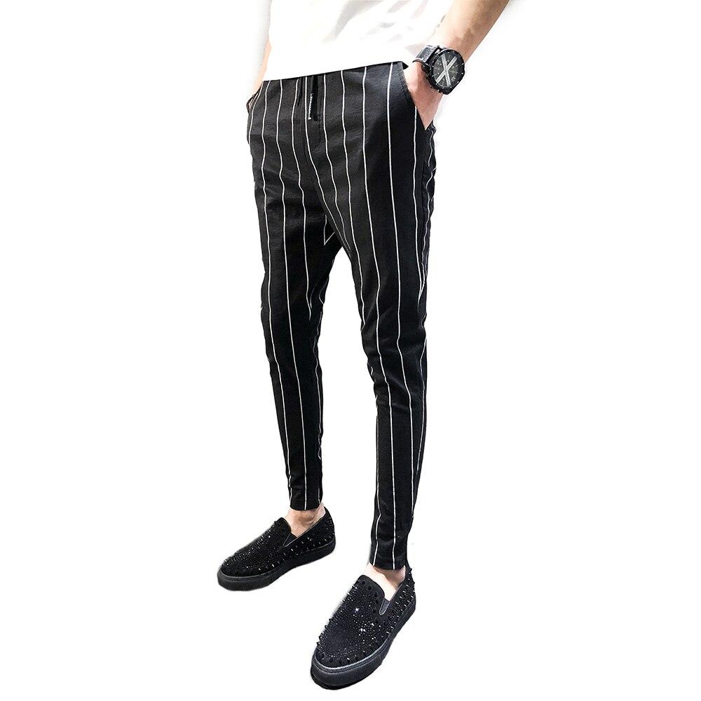Calças 2018 homens novos do algodão listrado preto e branco calças Magros dos homens calças harem pants casuais