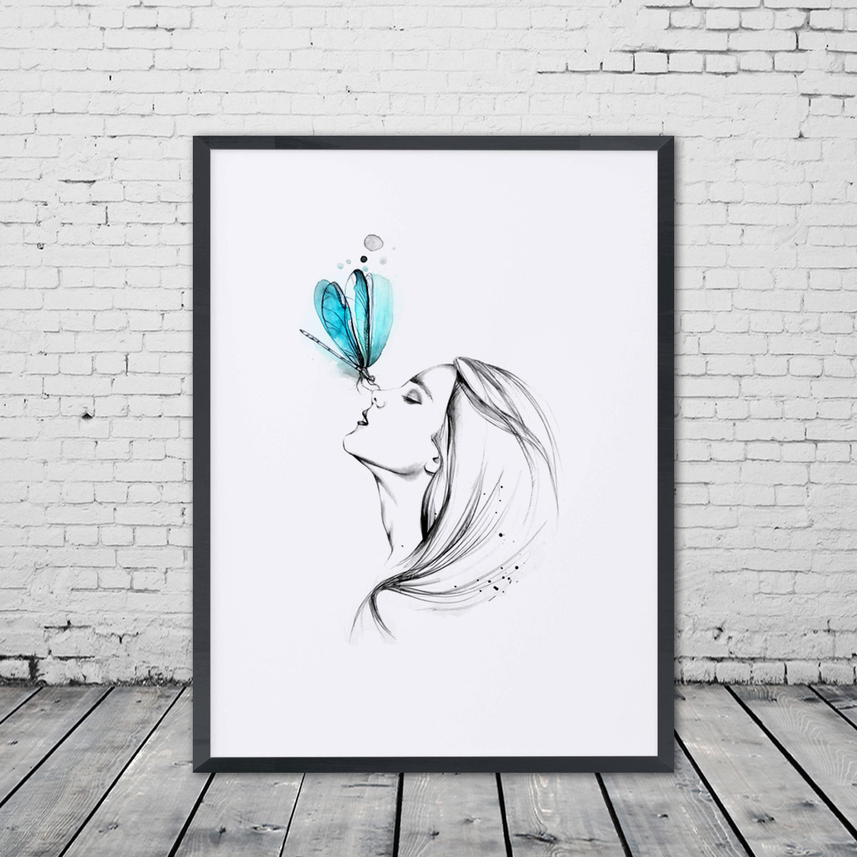 Girl With Butterfly Pencil Sketch Watercolor Painting Sweet Home Poster Wall Art Decor Room Hanging Pictures