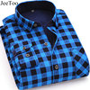 JeeToo Brand 2018 Winter Men Shirt Plaid Long Sleeve Mens Casual Shirts Thick Keep Warm Chemise