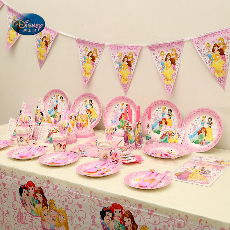 89pcs Princess Theme Party Supplies Tableware Set for 6 Kids Birthday Party Decorations Wedding Invitations DecorationDisposable Party Tableware   -