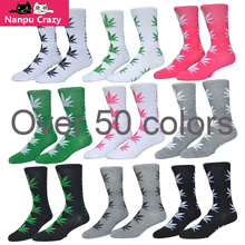 Colorful Leaves Weed Socks for Men High Quality Cotton 50 Colors Hemp Socks Hip Hop Basketball Socks Skateboard Drop Shipping