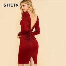 SHEIN Облегающее Платье С V-Образным Вырезом И Длинным Рукавом Вечернее Платье С Открытой Спиной
