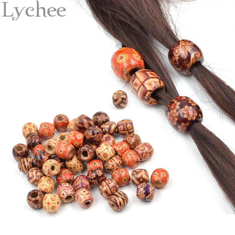 Lychee 50 pieces Wooden Dreadlock Bead Hair Beads for Dreadlock Braiding Hair Extension Random