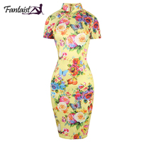 Women Summer Vintage Classic Short Sleeve Zipper Cheongsam Casual Bodycon Pencil Sheath Floral Print Dress For