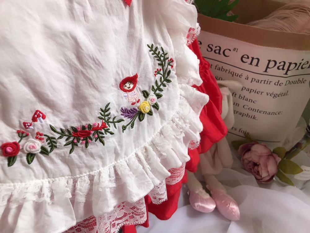 Baby meisjes jurken geborduurde bloemen turn down kleur zomer prinses feestjurken baby kids kleding - 4