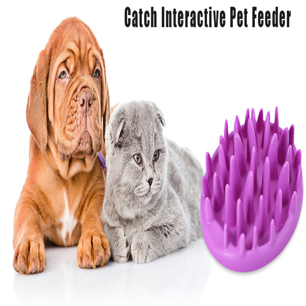Newest Universal Dougez Portable Catch Interactive Pet Dogs Cats Feeder Wood Simulative Slow Down Eating Bowl