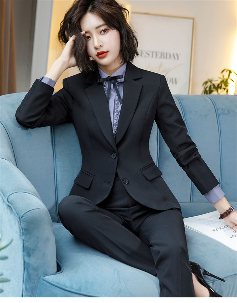 Work Fashion Pant Suits 2 Piece Set for Women singel Breasted solid color Blazer Jacket&Trouser Office Lady Suit Feminino 26