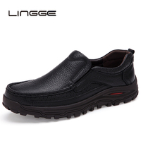 LINGGE Genuine Leather Men Casual Shoes Fashion Top Quality Driving Moccasins Lace Up Loafers Men Flat Shoes Plus Size 38 48
