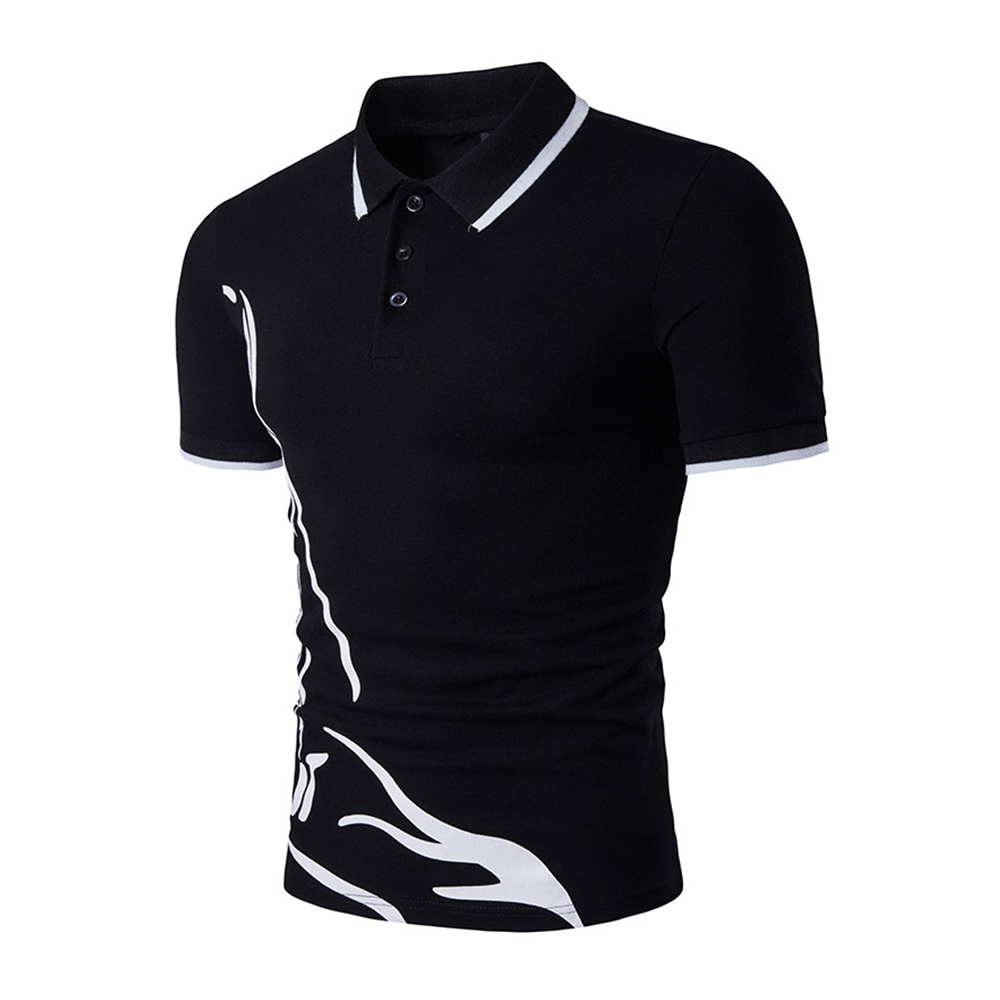 Summer Casual Men Polo Shirt Brand Short Sleeve Men 39 s Slim Fit Polo Shirt Cotton Print Homme Turn Down Collar Tees in Polo from Men 39 s Clothing