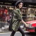 2017 Sprirng Cardigan Boyfriend Camisa Blusa Mulheres Harajuku Carta Impressão Solto Exército Verde Fino Outwear Grande Tamanho Mulheres Casuais Topo