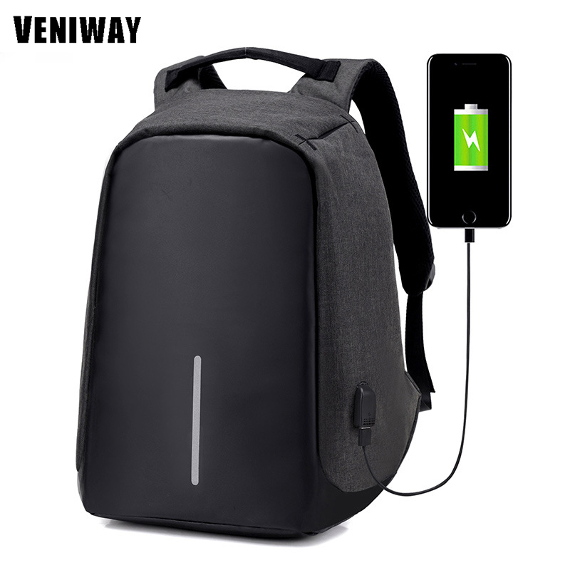 VENIWAY Multifunction USB Charge 15 inches Waterproof Laptop Backpacks Male Mochila For XD City Antitheif Travel Design Backpack multifunction charge