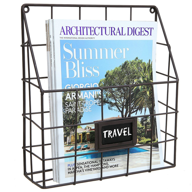 Metal Wire Wall Magazine Rack Bin Newspaper Mounted Mail Sorter With Chalkboard Label