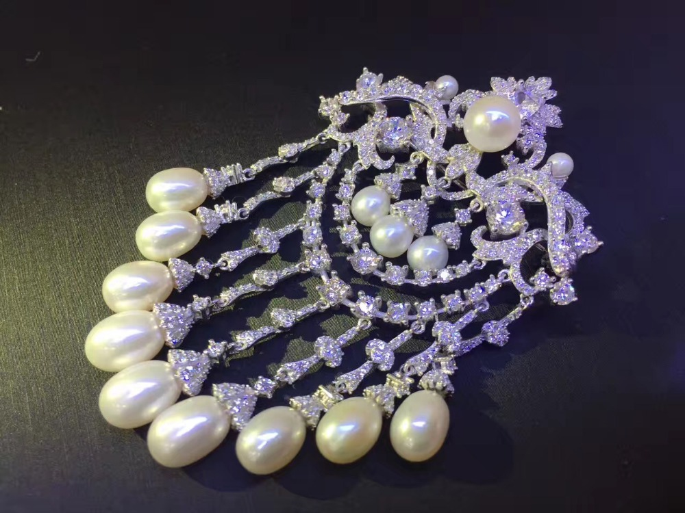 natural fresh water pearl brooch pins 925 sterling silver with cubic zircon vintage victoria tassels brooch