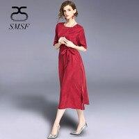 SMSF 2018 New Fashion Women Summer Half Sleeveless Cupro and Silk Female Dress Vintage Loose Waist Casual Beach Loose Dress
