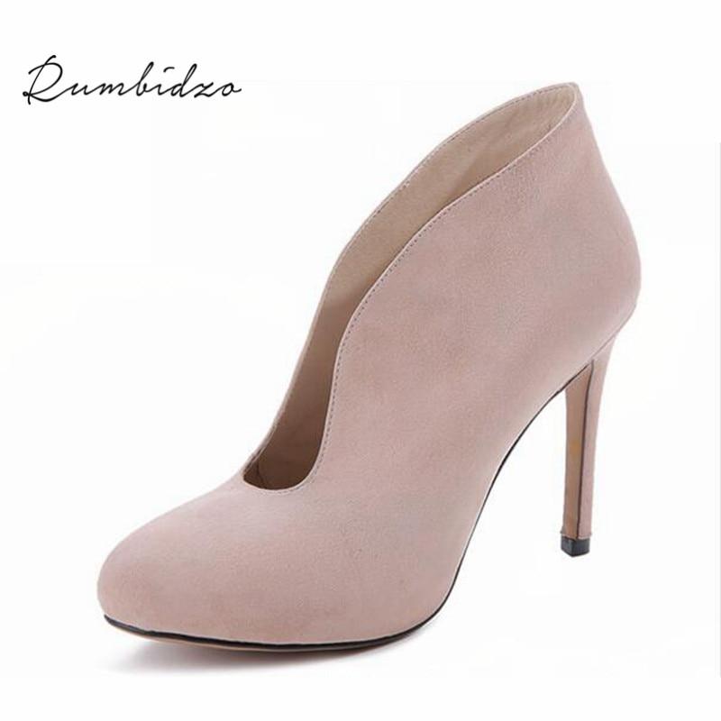 Rumbidzo 2017 Women Pumps Shoes Woman Winter Boots Thin Heel High Heels Shoes Ladies Genuine Leather