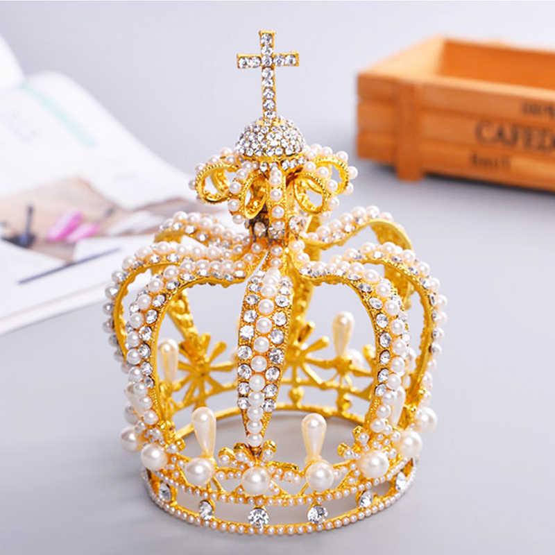 ... New Tall Royal Wedding Tiara Bridal Pageant Beauty Pearl Crown Tiaras  Contest Rhinestone Tiara Rose gold ... 9576d5633016