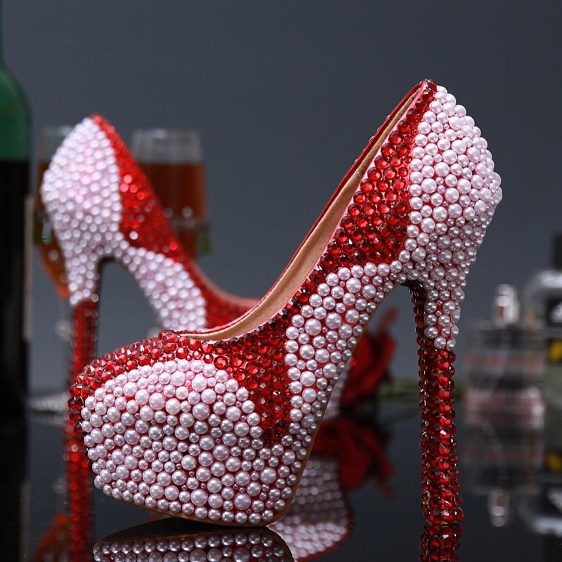 ФОТО Pearl high - heeled shoes Wine red bridal dress shoes Inlaid crystal diamond wedding shoes