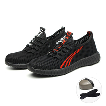 New safety shoes summer fly woven breathable steel toe cap light work Men and women construction boots botas hombre