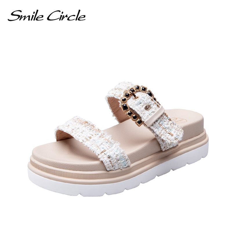 Smile Circle 2019 Summer Style Sandals Women Flat Platform Shoes Fashion Sandals Comfortable Beach Outdoor Lazy