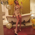2016 Женщины цветочный печати sequin dress Длинным рукавом блестками платья сексуальная Падения V шеи Золотой Блестками Шить dress 5 цвета размер