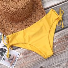 цены Women Sexy Two Piece Bikini Set Halter Deep V-Neck Ruched Pleated Bra Solid Yellow Color Mid Waist Bowknot Side Tie Criss Cross