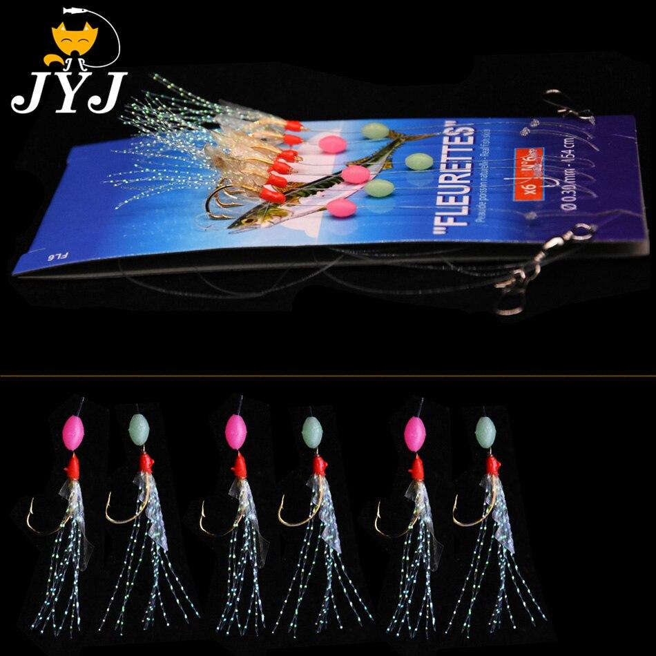 10 packs artificial fishing lure baits ,deep sea lure rigs sabiki hooks with true fish skin shrimp feather hooks