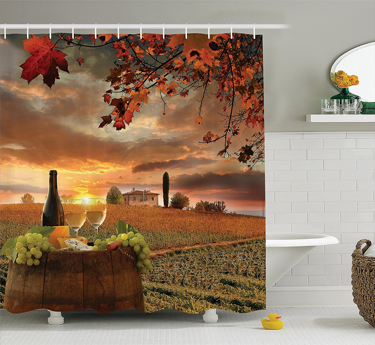 White Wine With Barrel On Vineyard At Sunset Shower Curtain Polyester Hotel Bathroom Hooks Ring72x72 Inch