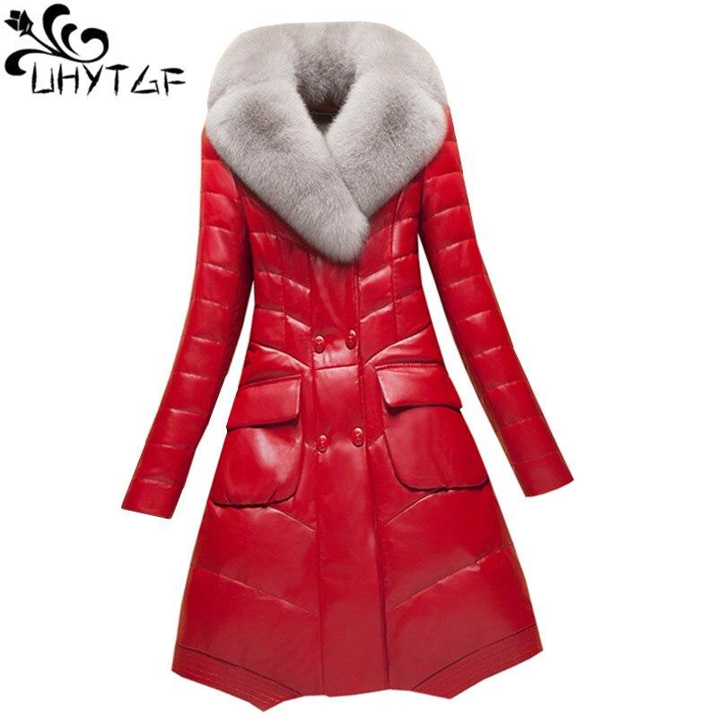 100% Wahr Uhytgf M-4xl Fashion Imitation Fox Pelz Kragen Warme Winter Leder Jacke Frauen Luxus Schafe Haut Unten Jacke Schlank Damen Mantel 86