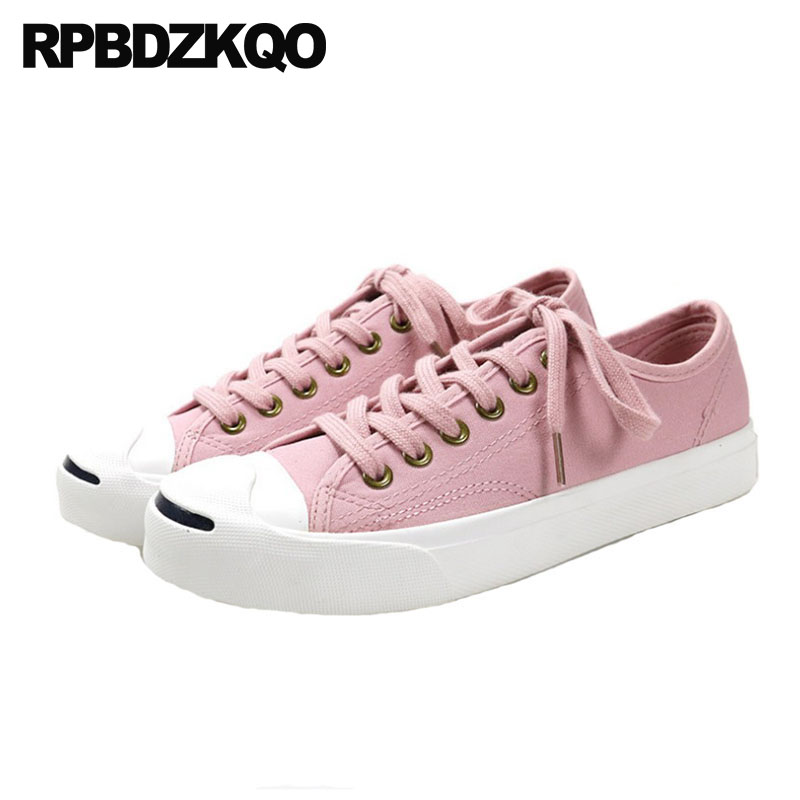 women trainers flats large size breathable sneakers pink china 11 12 44 round toe 10 leisure lace up cheap plain canvas shoes