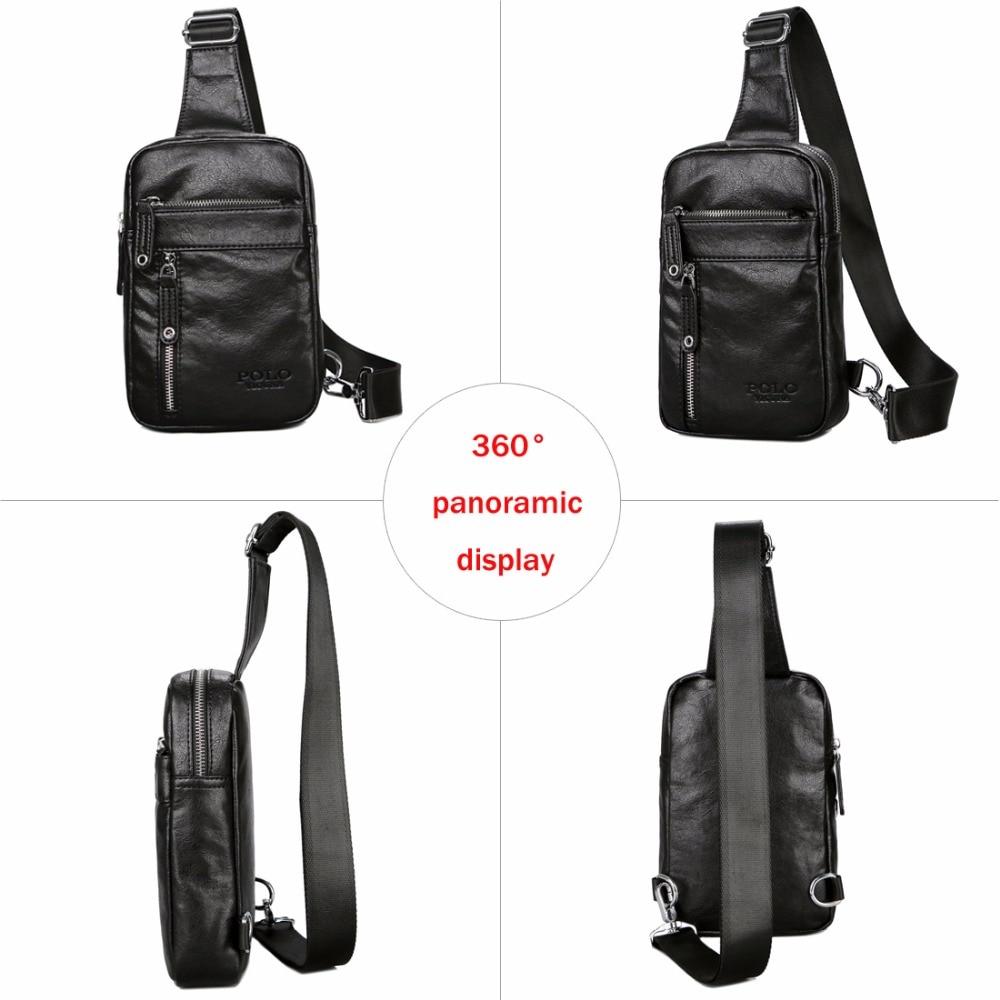 VICUNA POLO Theftproof Vintage Leather Brand Men Messenger Bag Men's Sling Bag With Headphone Hole Large Capacity Man Chest Bag 5