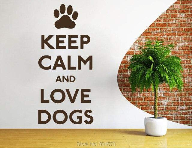 Diy Slaapkamer Decoratie : Houd kalm en liefde honden quote art muursticker sticker home diy