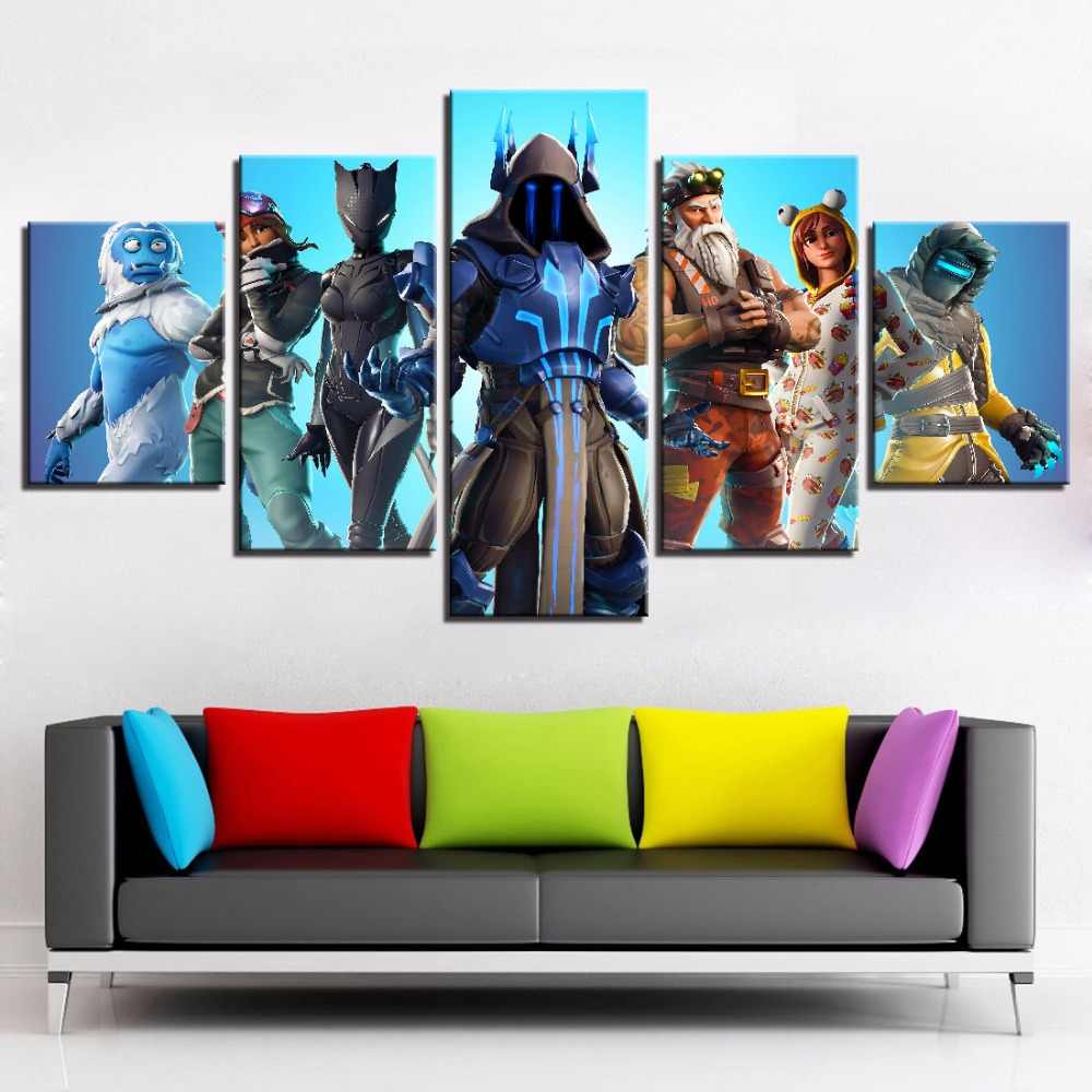 Home Decor Canvas Painting 5 Pieces Fortnight Battle Royale Game Posters HD Prints Wall Art Kids Room Modular Pictures Artwork