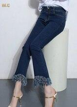 Хлопок джинсы для женщин повседневная кисточкой flare брюки плюс размер среднего талии похудения капри лодыжки длины лето весна осень cne0601
