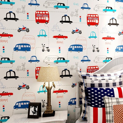 Cartoon Cars papel de parede infantil Wallpaper for Boys Kids Room Mural Child para sala boys bedroom wallpaper bedding2014