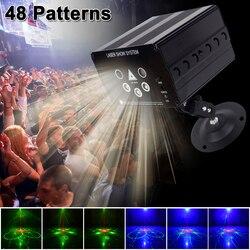 YSH Disco luz 5 haz 48 patrón LED láser proyector Navidad Fiesta DJ luz activada por voz Disco Navidad para la boda