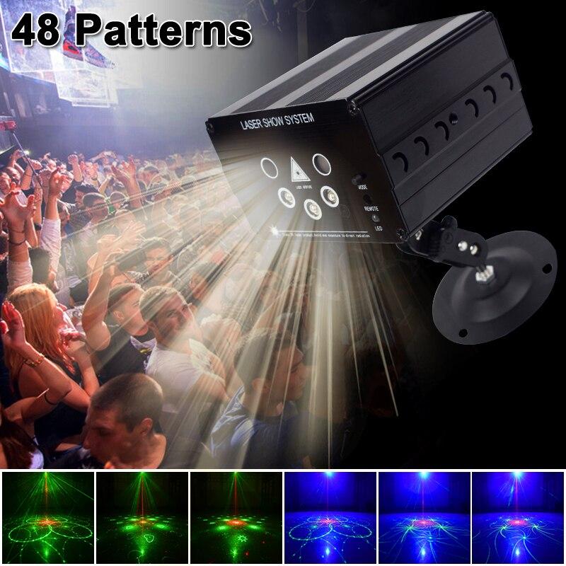 Ysh Disco Light 5 Beam 48 Pola Laser LED Laser Pesta Natal DJ Lampu Suara Diaktifkan Disco Xmas untuk Pernikahan